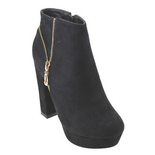 Refresh AD77 Women's Side Zipper Chunky Heel Faux Suede Platform Ankle Booties