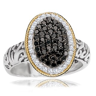 Avanti Sterling Silver and 18K Yellow Gold 1/2 Ct TDW Black and White Diamond Oval Fashion Statment Ring