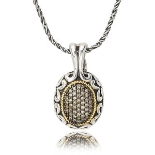Avanti Sterling Silver and 18K Yellow Gold 1/2 CT TDW Brown and White Diamond Oval Shape Pendant Necklace