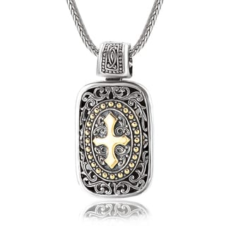 Avanti Sterling Silver 18K Yellow Gold Filigree Rectangular Shape Pendant with Cross Design Necklace