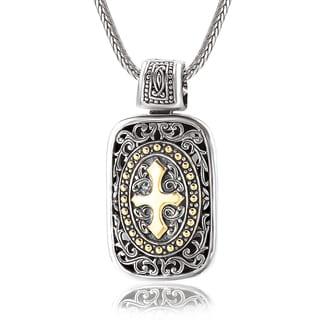 Avanti Sterling Silver 18K Yellow Gold Filigree Rectangular Shape Pendant with Cross Design Necklace