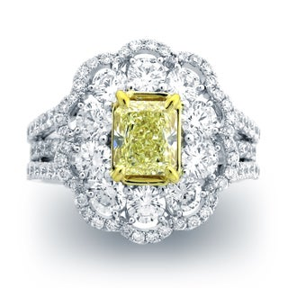 Azaro 18k Two-tone Gold 3 1/5ct TDW Split Shank Diamond Engagement Ring (G-H, SI1-SI2)