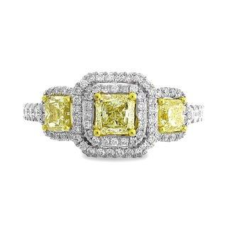 Azaro 18k Two-tone Gold 1 5/8ct TDW Yellow Diamond 3-stone Double Cushion Engagement Ring (G-H, SI1-SI2)
