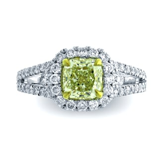 Azaro 18k Two-tone Gold 1 7/8ct TDW Split Shank Cushion Halo Diamond Engagement Ring