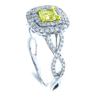 Azaro 18k Two-tone Gold 1 1/2ct TDW Double Cushion Halo Diamond Engagement Ring