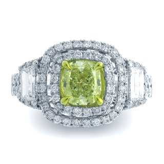 Azaro 18k Two-tone Gold 2 1/5ct TDW 3-stone Double Cushion Halo Diamond Engagement Ring