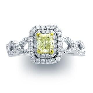 Azaro 18k Two-tone Gold 1 2/5ct TDW Split Shank Double Halo Diamond Engagement Ring (G-H, SI1-SI2)