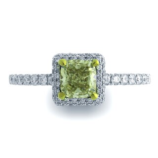 Azaro 18k Two-tone Gold 7/8ct TDW Square Halo Diamond Engagement Ring