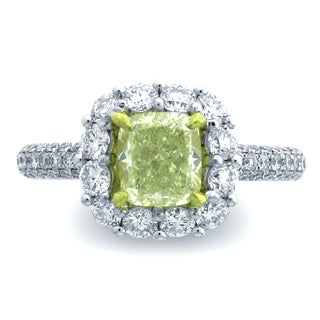 Azaro 18k Two-tone Gold 2 4/5ct TDW Cushion Halo Diamond Engagement Ring