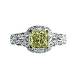 Azaro 18k Two-tone Gold 1 1/3ct TDW Split Shank Cushion Halo Diamond Engagement Ring (G-H, SI1-SI2)
