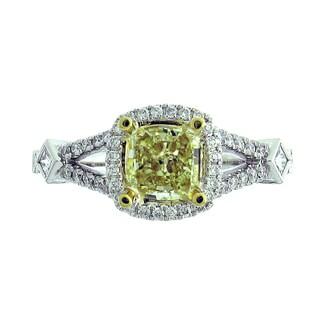 Azaro 18k Two-tone Gold 1 2/5ct TDW Split Shank Cushion Halo Diamond Engagement Ring (G-H, SI1-SI2)
