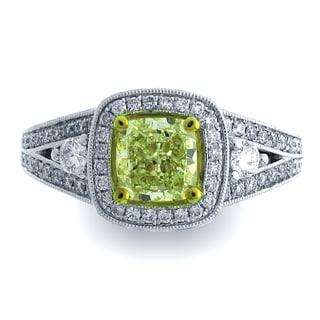 Azaro 18k Two-tone Gold 1 7/8ct TDW Cushion Halo Diamond Engagement Ring (G-H, SI1-SI2)