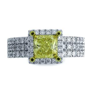 Azaro 18k Two-tone Gold 2 1/5ct TDW Square Halo Diamond Engagement Ring