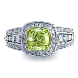 Azaro 18k Two-tone Gold 1 1/2ct TDW Cushion Halo Diamond Engagement Ring