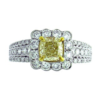 Azaro 18k Two-tone Gold 2ct TDW Cushion Halo Diamond Engagement Ring