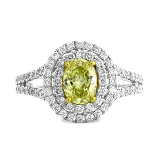 Azaro 18k Two-tone Gold 1 2/5ct TDW Double Oval Halo Diamond Engagement Ring (G-H, SI1-SI2)