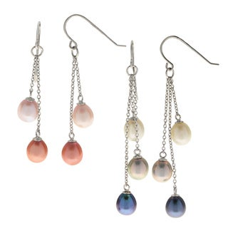 Pearls for You Sterling Silver 7- to 8-millimeter Freshwater Pearl Dangle Earring Set