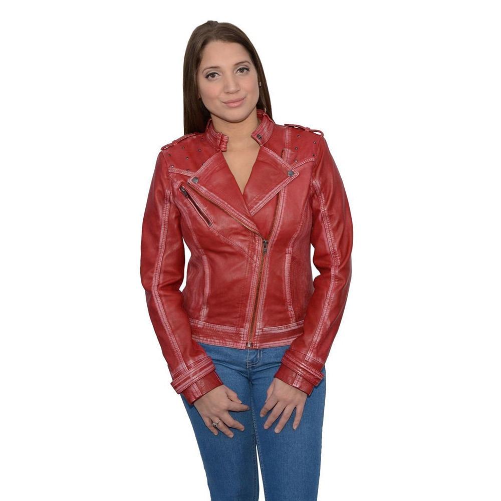 Womens Leather Asymmetrical Studded Moto Jacket