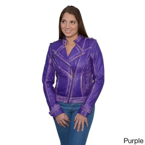 Women's Leather Asymmetrical Studded Moto Jacke