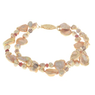 Pearls For You 14k Golden Keshi 5- to 6-millimeter, 10- to 11-millimeter Freshwater Pearl and Gemstone Bracelet
