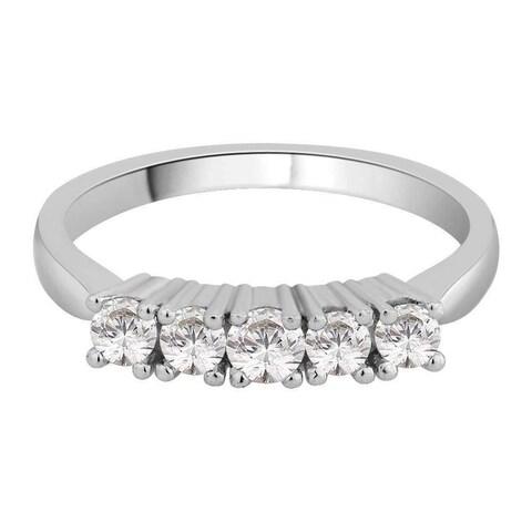 14K White Gold 1/2ct TDW Diamond 5-Stone Wedding Band