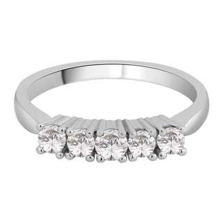 14K White Gold 1 4ct TDW Diamond 5 Stone Wedding Band