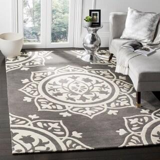 Safavieh Handmade Bella Dark Grey / Ivory Wool Rug (8' x 10')