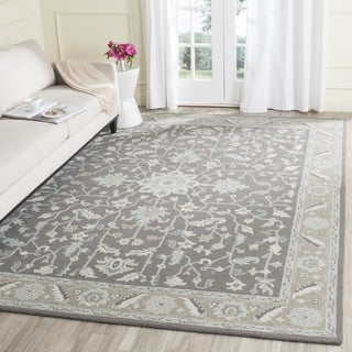 Safavieh Handmade Blossom Dark Grey / Light Brown Wool Rug (10' x 14')
