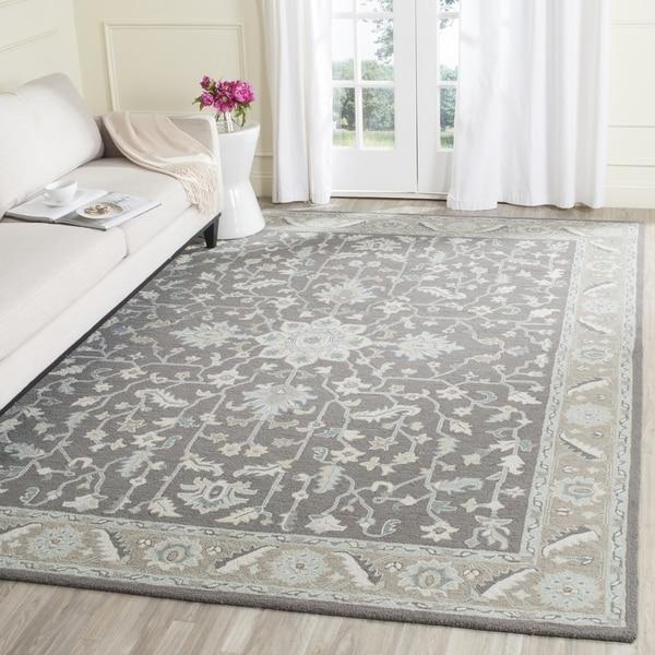 Safavieh Handmade Blossom Dark Grey Light Brown Wool Rug