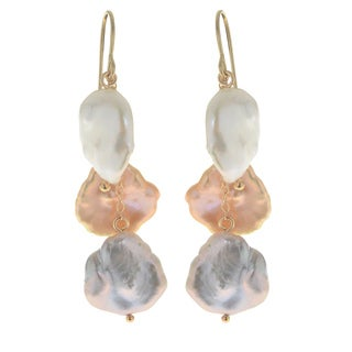 Pearls For You 14k Yellow Gold Multicolor Freshwater Keshi Pearl Dangle Earrings