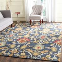 Safavieh Handmade Blossom Navy / Multicolored Wool Rug (9' x 12')