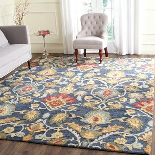 Safavieh Handmade Blossom Navy / Multicolored Wool Rug (10' x 14')