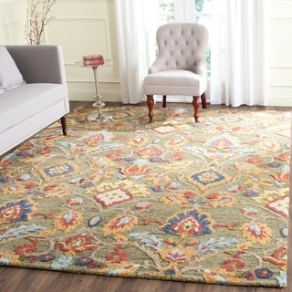 Safavieh Handmade Blossom Green / Multicolored Wool Rug (9' x 12')