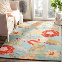 Safavieh Handmade Blossom Blue / Multicolored Wool Rug - 10' x 14'