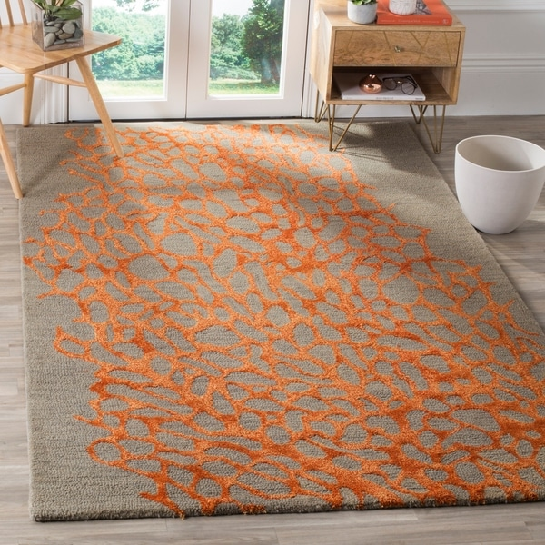 Safavieh Handmade Blossom Abstract Grey Orange Wool Rug 8 X27