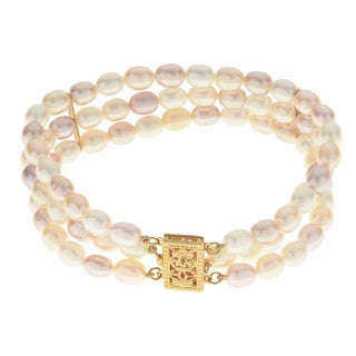 Pearls For You 14K Yellow Gold Multicolored Freshwater Pearl Bracelet