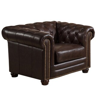Kensington Chesterfield Top-grain Leather Armchair with Feather Down Seating