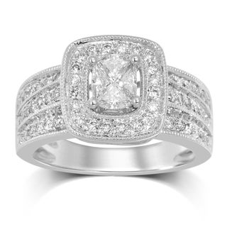 Unending Love 14k White Gold Diamond ( G-I-J Color, SI3-I1-I2 Clarity ) Invisible Setting Women's Engagement Ring