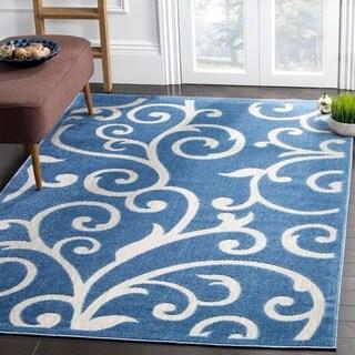 Safavieh Indoor / Outdoor Cottage Scrolling Vines Blue / Cream Rug (8' x 11')