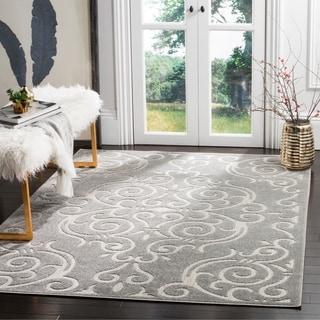 Safavieh Indoor / Outdoor Cottage Scrolling Vines Grey / Light Grey Rug (8' x 11')