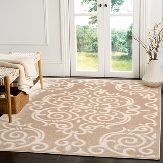 Safavieh Indoor / Outdoor Cottage Scrolling Vines Light Beige / Cream Rug (9' x 12')