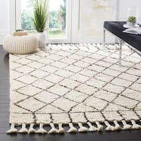 Safavieh Handmade Casablanca Ivory / Brown Wool / Cotton Rug (8' x 10')