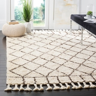 Safavieh Handmade Casablanca Ivory / Brown Wool / Cotton Rug (9' x 12')