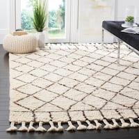 Safavieh Handmade Casablanca Ivory / Brown Wool / Cotton Rug - 9' x 12'