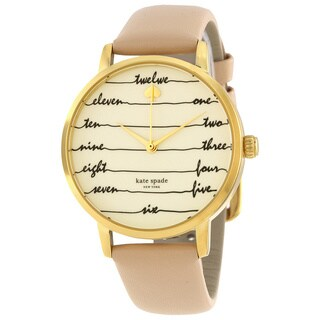 Kate Spade Women's 'Metro' Calligraphic Brown Leather Watch