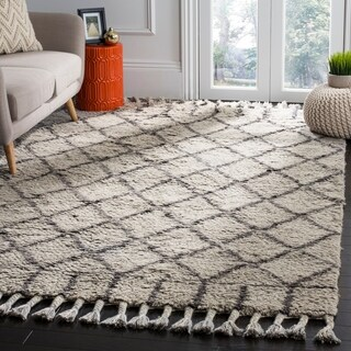 Safavieh Handmade Casablanca Grey / Dark Grey Wool / Cotton Rug (8' x 10')