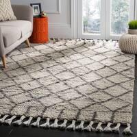 Safavieh Handmade Casablanca Grey / Dark Grey Wool / Cotton Rug - 9' x 12'