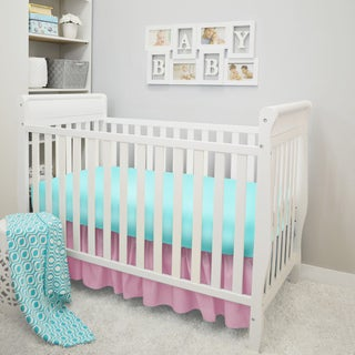 American Baby Company Pink and Aqua 4-Piece Baby Girl Crib Bedding Set