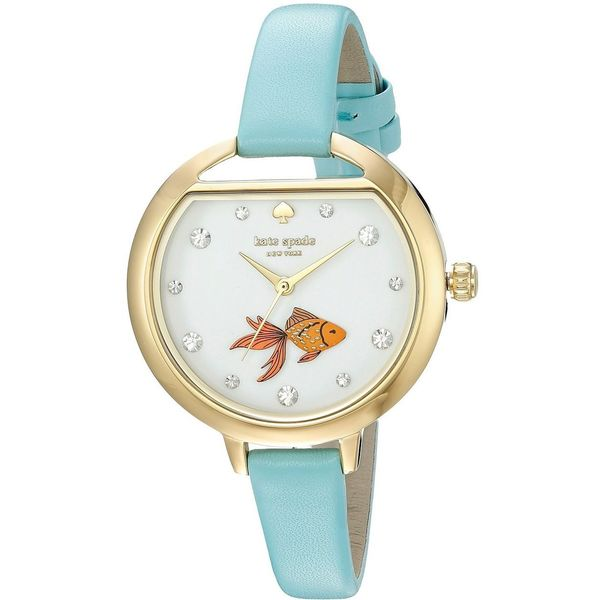 Shop Kate Spade Women s  Fish Bowl  Crystal Blue Leather Watch ... 669109247e