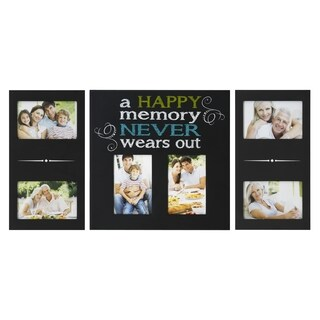 Melannco Black Plastic 'Happy Memory' 6-opening Photo Collage (Set of 3)